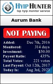 hyiphunter.biz - hyip aurum bank