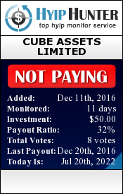 hyiphunter.biz - hyip cube assets limited