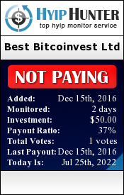 hyiphunter.biz - hyip best bitcoinvest ltd