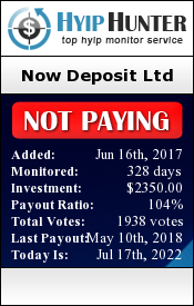 hyiphunter.biz - hyip Now Deposit Ltd